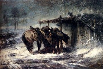 Adolf Schreyer Painting - Arab Wallachian Blizzard Arab Adolf Schreyer