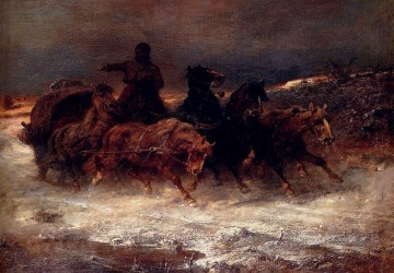 Arab A Troika In Winter Arab Adolf Schreyer Oil Paintings