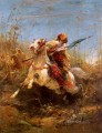 Arab Warrior Leading A Charge Arab Adolf Schreyer oil painting