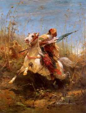Arab Canvas - Arab Warrior Leading A Charge Arab Adolf Schreyer