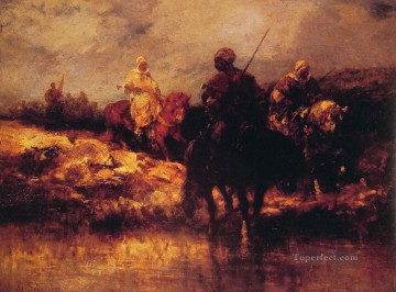 Adolf Schreyer Painting - Arabs on Horseback Arab Adolf Schreyer