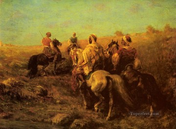 Water Works - Arab Arabian Horsemen Near A Watering Place Arab Adolf Schreyer