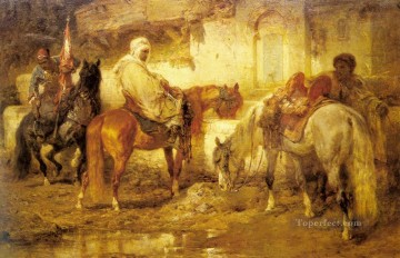 Arab At The Watering Place Arab Adolf Schreyer Oil Paintings
