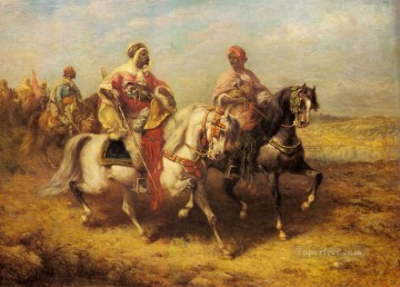 Arab Chieftain And His Entourage Arab Adolf Schreyer Oil Paintings