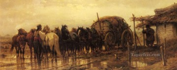 Adolf Schreyer Painting - Arab Hitching Horses To The Wagon Arab Adolf Schreyer