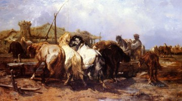Adolf Schreyer Painting - Arab The Watering Place Arab Adolf Schreyer