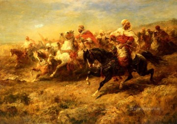 Adolf Schreyer Painting - Arabian Horsemen Arab Adolf Schreyer