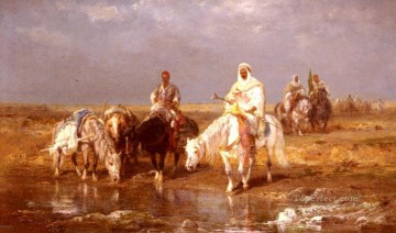 Adolf Schreyer Painting - Arabs Watering Their horses Arab Adolf Schreyer