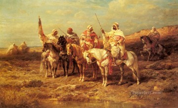 Adolf Schreyer Painting - Arab Horseman By A watering Hole Arab Adolf Schreyer