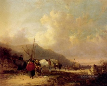 beach Art - A Busy Beach Scene rural scenes William Shayer Snr