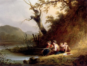 Shayer Snr William Painting - The Young Anglers rural scenes William Shayer Snr
