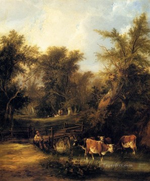 stream Painting - Cattle By A Stream rural scenes William Shayer Snr