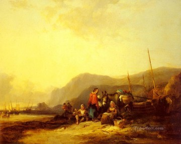 Coast Painting - On The Hampshire Coast rural scenes William Shayer Snr
