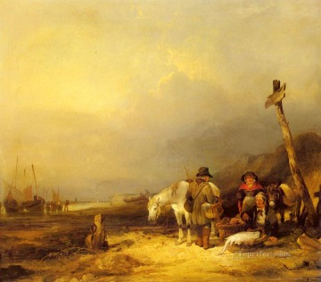 Coast Painting - On The South Coast rural scenes William Shayer Snr