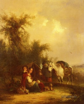 vagabonds resting in a cave Painting - Resting Along The Trail rural scenes William Shayer Snr