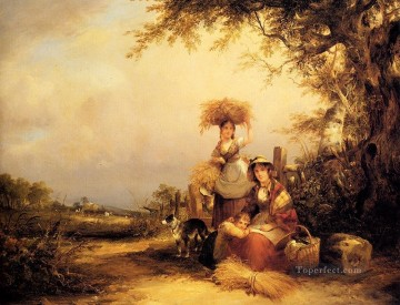 Shayer Snr William Painting - The Gleaners Shirley Hants rural scenes William Shayer Snr