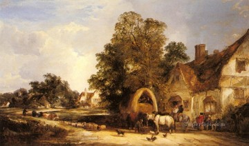 Shayer Snr William Painting - The Half Way House Thatcham rural scenes William Shayer Snr