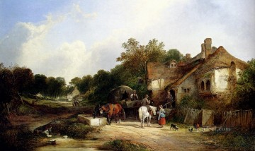 Road Oil Painting - The Road Side Inn Somerset rural scenes William Shayer Snr