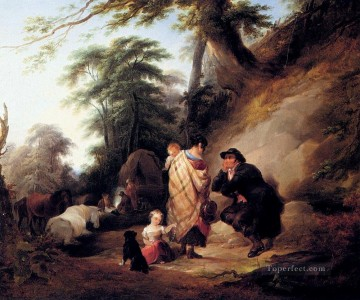 vagabonds resting in a cave Painting - Travelers Resting rural scenes William Shayer Snr