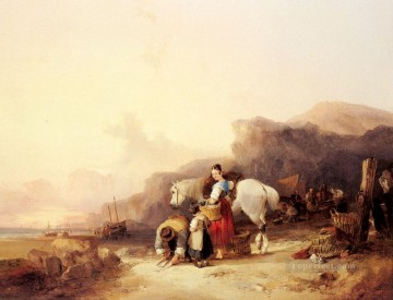 Shayer Snr William Painting - Beach Scene With Fisherfolk rural scenes William Shayer Snr