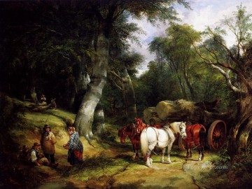 Shayer Snr William Painting - Carting Timber In The New Forest rural scenes William Shayer Snr