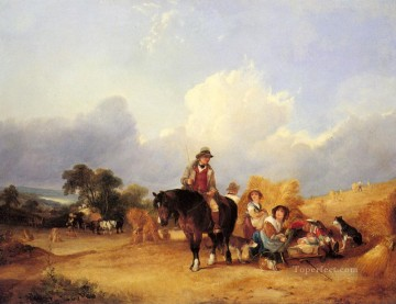 Shayer Snr William Painting - Harvest Time rural scenes William Shayer Snr