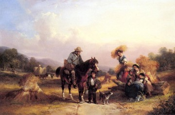 vagabonds resting in a cave Painting - Harvesters Resting rural scenes William Shayer Snr