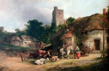 Shayer Snr William Painting - The Plough Inn rural scenes William Shayer Snr