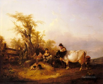 Shayer Snr William Painting - The Road To Market rural scenes William Shayer Snr
