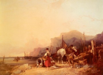 Shayer Snr William Painting - Unloading The Catch Near Benchurch Isle Of Wight rural scenes William Shayer Snr