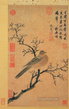 Shen Zhou Painting - turtledove calling for rain old China ink
