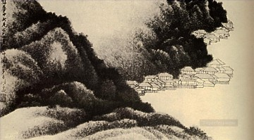 shitao Painting - Shitao village on the water 1689 old China ink
