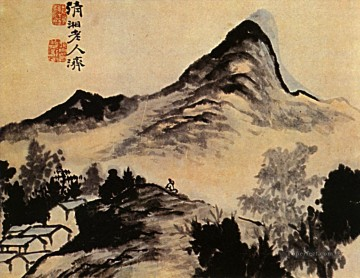 Shitao conversation with the mountain 1707 old China ink Oil Paintings