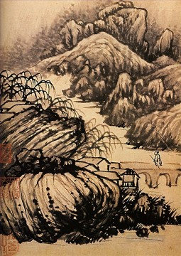 dragon Painting - Shitao hiking in the area of the temple of the dragon 1707 old China ink