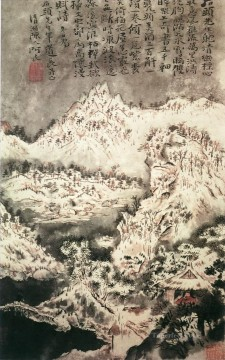 Shitao Snowing mountain old China ink Oil Paintings
