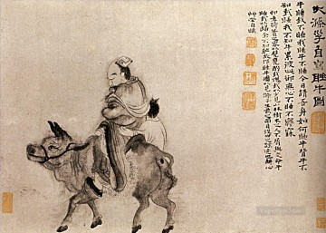 Shitao back home after a night of drunkenness 1707 old China ink Oil Paintings