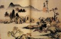 Shitao bath horses 1699 old China ink