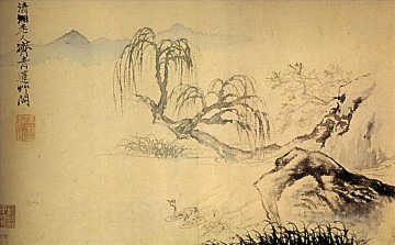Shitao ducks on the river 1699 old China ink Oil Paintings