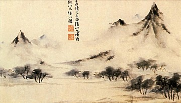 Shitao mists on the mountain 1707 old China ink Oil Paintings