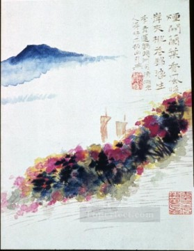 Shitao riverbank of peach blossoms old China ink Oil Paintings