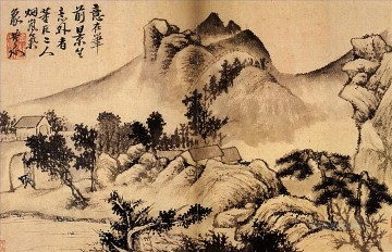 shitao Painting - Shitao village at the foot of the mountains 1699 old China ink