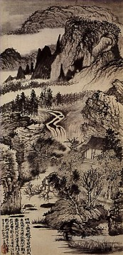 mountains art - Shitao jinting mountains in autumn 1707 old China ink