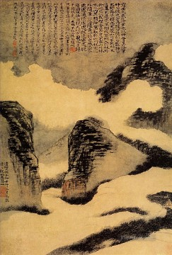 mountains - Shitao mountains in the mist 1702 old China ink