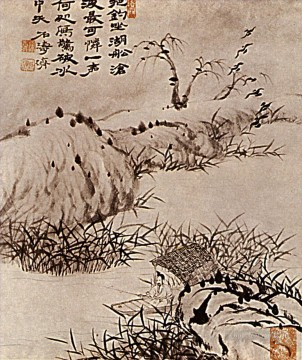 Shitao the solitaire has fishing 1707 old China ink Oil Paintings