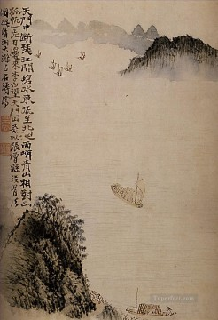 Shitao boats to the door 1707 old China ink Oil Paintings