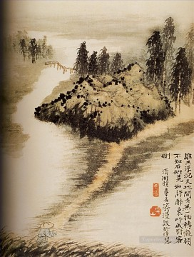 Shitao on the other side of the water 1694 old China ink Oil Paintings