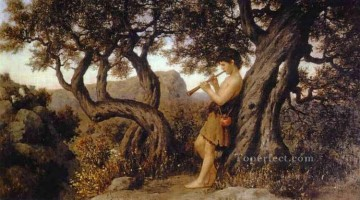 Polish Oil Painting - A Shepherd Playing Flute Polish Greek Roman Henryk Siemiradzki