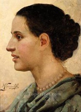Polish Oil Painting - Portrait of a Young Woman Polish Greek Roman Henryk Siemiradzki