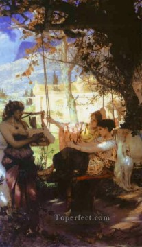 Polish Oil Painting - Song of a Slave Girl Polish Greek Roman Henryk Siemiradzki