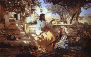 Christ in the House of Martha and Mary New Testament Henryk Siemiradzki Oil Paintings
